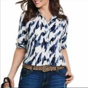 Cabi | Moody Blues Watercolor Button Down